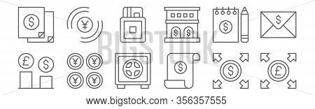 Set Of 12 Money Icons. Outline Thin Line Icons Such As Pound Sterling, Invoice, Yen, Notes, Cit Card