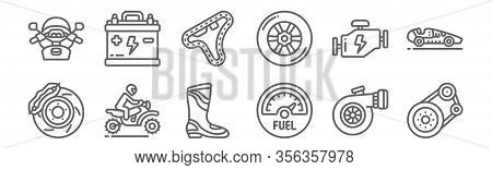 Set Of 12 Motor Sports Icons. Outline Thin Line Icons Such As Transmission, Fuel, Motocross, Engine,