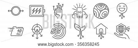 Set Of 12 G Icons. Outline Thin Line Icons Such As Iot, Smart, Beamforming, Coverage, Iot, Battery