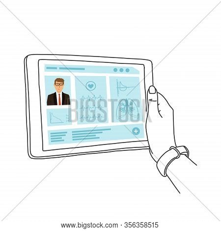 Electronic Medical Record, Hands Hold Tablet. Electronic Medical History Is Used In Outpatient And I