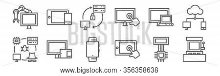 Set Of 12 Computers And Network Icons. Outline Thin Line Icons Such As Game Machine, Tablet, Compute