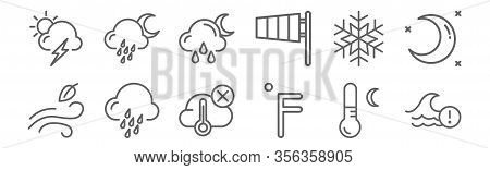 Set Of 12 Weather Icons. Outline Thin Line Icons Such As Wave, Farenheit, Drizzle, Snowflake, Rain,