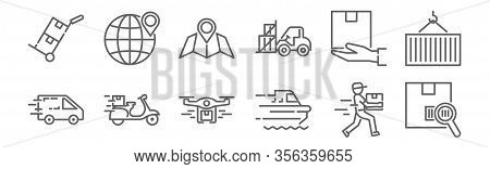 Set Of 12 Logistics And Shipping Icons. Outline Thin Line Icons Such As Track, Ship, Scooter, Sendin