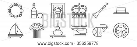 Set Of 12 Tipical Spanish Icons. Outline Thin Line Icons Such As Omelette, Ham, Comb, Dulzaina, Mosq