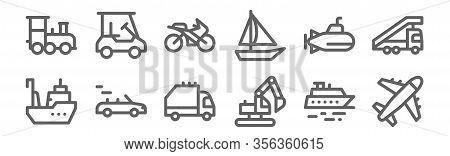 Set Of 12 Vehicles And Transport Icons. Outline Thin Line Icons Such As Airplane, Digger, Convertibl