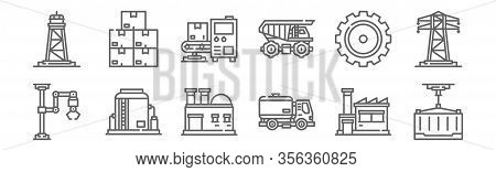 Set Of 12 Industrial Process Icons. Outline Thin Line Icons Such As Container, Tank Truck, Tank, Gea