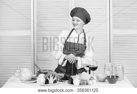 Woman Pretty Chef Wear Hat And Apron. Uniform For Professional Chef. Lady Adorable Chef Teach Culina