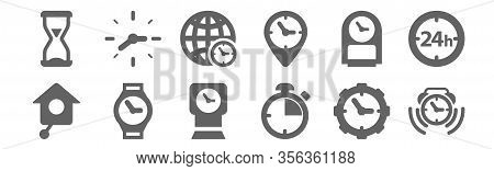 Set Of 12 Watches Icons. Outline Thin Line Icons Such As Alarm Clock Ringing, Chronometer, Wristwatc