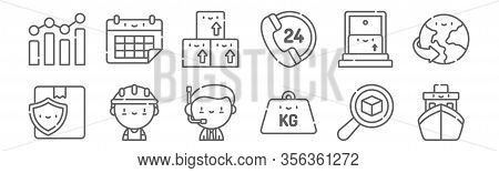 Set Of 12 Logistic Icons. Outline Thin Line Icons Such As Ship, Kilogram, Worker, Home, Inventory, C