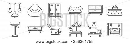 Set Of 12 Furnitures Icons. Outline Thin Line Icons Such As Canopy Bed, Beach Chair, Tv Stand, Drawe
