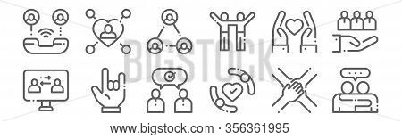 Set Of 12 Friendship Icons. Outline Thin Line Icons Such As Friendship, Protection, Hand, Respect, R
