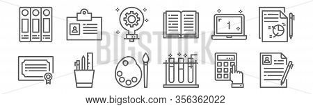 Set Of 12 School Icons. Outline Thin Line Icons Such As Curriculum, Test Tube, Pencil Case, Laptop,