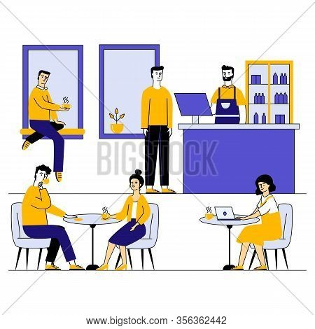Coffee Shop With Young People Characters Dinning In Coffeehouse Vector Illustration. Cafe With Men A