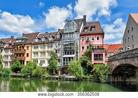 Buildings Along The River Pegnitz In The Franconian City Nuremberg (bavaria, Germany)