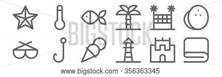 Set Of 12 Summer Holidays Icons. Outline Thin Line Icons Such As Towel, Lifeguard, Hook, Volleyball