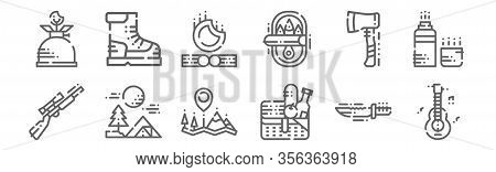 Set Of 12 Camping Icons. Outline Thin Line Icons Such As Guitar, Picnic Basket, Tent, Hatchet, Fire,