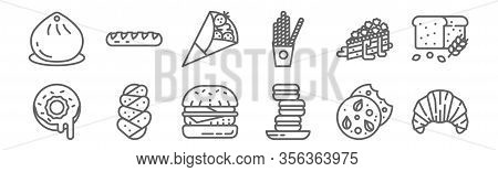 Set Of 12 August Bakery Icons. Outline Thin Line Icons Such As Croissant, Macaron, Challah, Crumble,