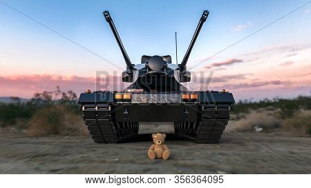 3d Illustration. Modern Military Tank With Lost Teddy Bear On Nature Background. Lovely Injured Toy
