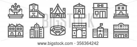 Set Of 12 Urban Building Icons. Outline Thin Line Icons Such As Cinema, Arch Of Triumph, Skyscrapper