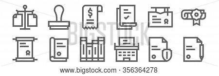 Set Of 12 Legal Document Icons. Outline Thin Line Icons Such As Document, Typewriter, Legal Document