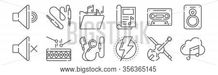 Set Of 12 Music Icons. Outline Thin Line Icons Such As Music Cloud, Power, Drum, Cassette, Music Fol