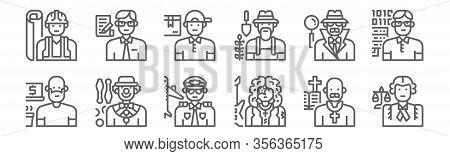 Set Of 12 Professions And Occupation Icons. Outline Thin Line Icons Such As Lawyer, Guitarist, Juggl