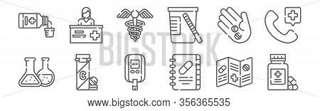 Set Of 12 Pharmacy Icons. Outline Thin Line Icons Such As Pill, Book, Vitamin C, Pills, Caduceus, Ph