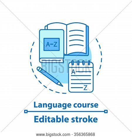 Foreign Language Courses Concept Icon. Grammar Learning. Idea Thin Line Illustration. Language Learn