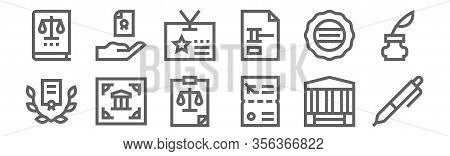 Set Of 12 Legal Document Icons. Outline Thin Line Icons Such As , Visa, Legal Document, Official, Id