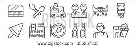Set Of 12 Icecream Shop Icons. Outline Thin Line Icons Such As Ice Cream, Additives, Cash Register,