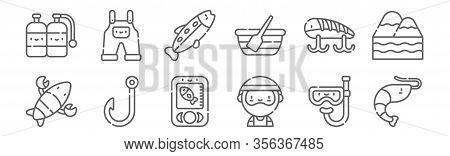 Set Of 12 Fishing Icons. Outline Thin Line Icons Such As Shrimp, Fisherman, Fishing Hook, Fishing Ba