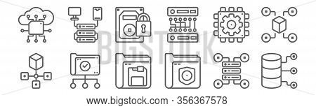 Set Of 12 Data Manager Icons. Outline Thin Line Icons Such As Data Storage, Data, Folder, Chip, Padl