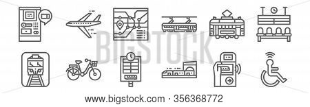 Set Of 12 Public Transport Icons. Outline Thin Line Icons Such As Accesibility, Train, Bike, Tram, R