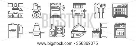 Set Of 12 Kitchen Icons. Outline Thin Line Icons Such As Stove, Tray, Apron, Silverware, Stove, Scal