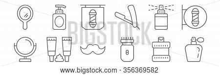Set Of 12 Barber Shop Icons. Outline Thin Line Icons Such As Perfume, Electric Razor, Shaving Foam,