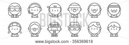 Set Of 12 Urban Tribes Icons. Outline Thin Line Icons Such As Kpop, Ska, Grunge, Metalhead, Skater,