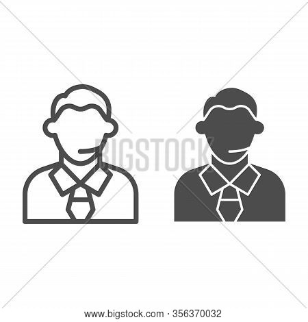 Football Or Soccer Commentator Line And Solid Icon. Human With Headset, Fan Support Symbol, Outline