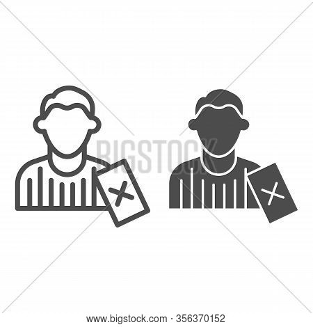 Judge And Penalty Proof Line And Solid Icon. Soccer Or Football Referee With Red Card Symbol, Outlin