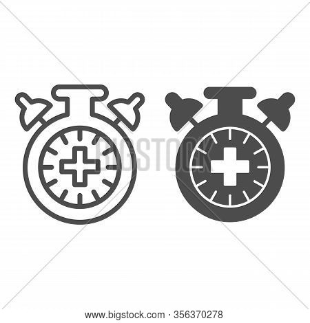 Match Extra Time Line And Solid Icon. Overtime Game, Stopwatch Or Timer Symbol, Outline Style Pictog