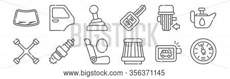 Set Of 12 Car Repair Icons. Outline Thin Line Icons Such As Tachometer, Air Filter, Spark Plug, Bala