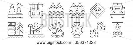 Set Of 12 Scouts Icons. Outline Thin Line Icons Such As Rank, Wristwatch, Trees, Animal, Mountains,