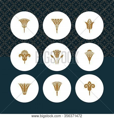 A Set Of Vector Logos Egyptian Lotus Flower With Themed Patterns In The Background. Logos In The For