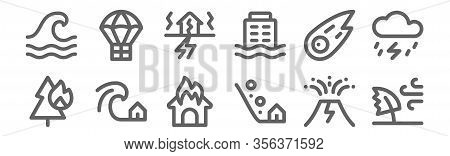 Set Of 12 Disaster Icons. Outline Thin Line Icons Such As Windy, Landslide, Tsunami, Meteor, Earthqu