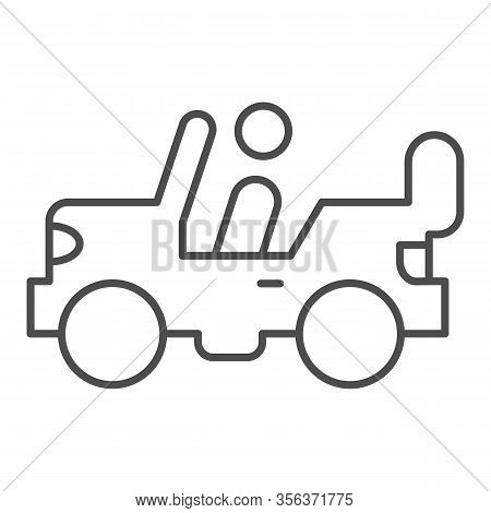 Army Vehicle Thin Line Icon. Offroad Rover With Person, Car And Soldier Symbol, Outline Style Pictog