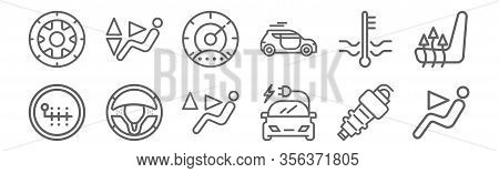 Set Of 12 Auto Icons. Outline Thin Line Icons Such As Chair, Electric Car, Steering Wheel, Water Lev