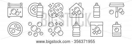 Set Of 12 Housekeeping Icons. Outline Thin Line Icons Such As Cleaner, Cleaner, Bubbles, Clean, Spon