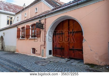 Sighisoara, Romania - March 23, 2013: Detail Of The Windows And Doors Of Casa Legenda Restaurant