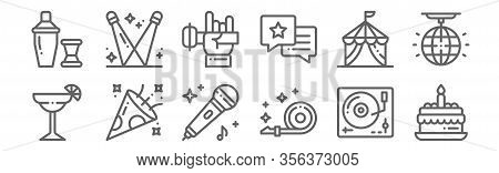 Set Of 12 Event Icons. Outline Thin Line Icons Such As Cake, Blower, Confetti, Circus Tent, Rock, Sp