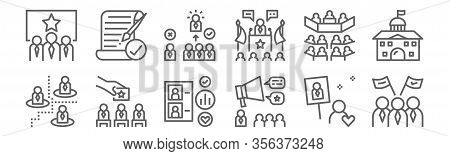 Set Of 12 Election World Icons. Outline Thin Line Icons Such As People, Announce, Candidate, Senate,