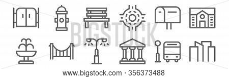 Set Of 12 City Icons. Outline Thin Line Icons Such As Cityscape, Goverment, Bridge, Mailbox, Bench,